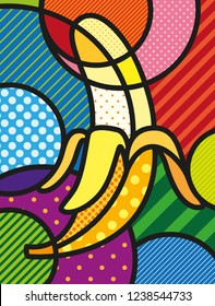 Modern pop art banana illustration /  print for you design. Healthy, ecological and fresh food design. Vector, abstract and  decorative fruit object.