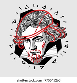 Modern portrait of composer and musician. T-Shirt Design & Printing, clothes, bags, posters, invitations, cards, leaflets etc. Vector illustration hand drawn. Ludwig van Beethoven