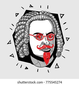 Modern portrait of composer and musician. T-Shirt Design & Printing, clothes, bags, posters, invitations, cards, leaflets etc. Vector illustration hand drawn. Johann Sebastian Bach