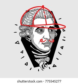 Modern portrait of composer and musician. T-Shirt Design & Printing, clothes, bags, posters, invitations, cards, leaflets etc. Vector illustration hand drawn. Franz Joseph Haydn
