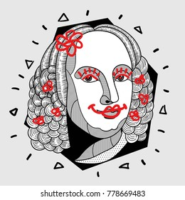 Modern portrait of composer and musician. T-Shirt Design & Printing, clothes, bags, posters, invitations, cards, leaflets etc. Vector illustration hand drawn. Antonio Lucio Vivaldi with flowers