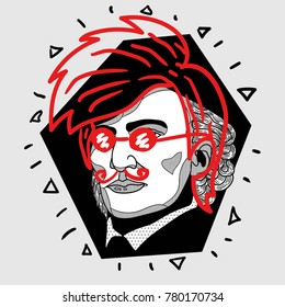 Modern portrait of composer and musician. T-Shirt Design & Printing, clothes, bags, posters, invitations, cards, leaflets etc. Vector illustration hand drawn. Wilhelm Richard Wagner