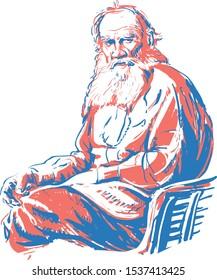 Modern portrait of great Russian writer Leo Tolstoy