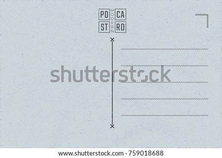 Modern Postcard Inner Side Blank Template With Contemporary Logo Lettering Authentic Composition