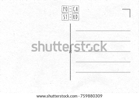 Modern Postcard Inner Side Blank Template With Doodle Style Logo Lettering In Grunge Frame
