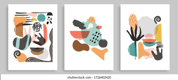 Modern Poster Art Prints Of 3. Abstract Wall Art Contemporary Style.  Digital Interior Art with Abstract Shapes. Abstract Poster Triptych. Vector EPS 10.