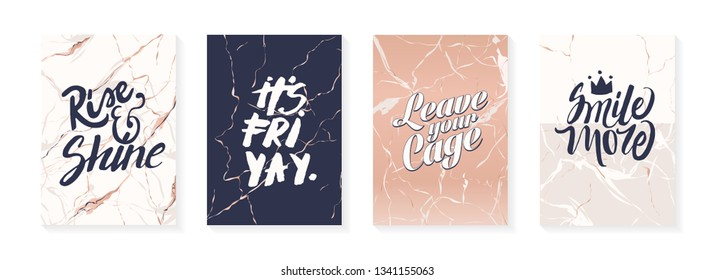"Modern poster design. Trendy artistic covers template. Fashionable brochure template. Signs ""Rise and Shine"", ""IT`S FRI YAY."", ""Leave your cage"", ""Smile More""."