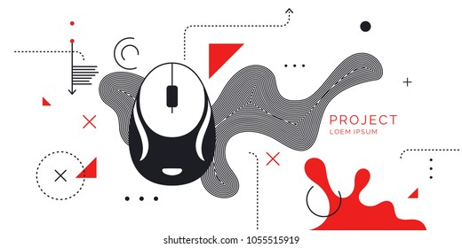 Modern poster Digital art. Abstract shapes and splashes on white background. Vector illustration.