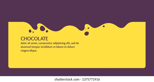 Modern poster, dynamic splashes and drops of chocolate. Vector illustration in a flat style of minimalism