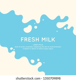 Modern poster fresh milk with splashes on a light blue background. Vector illustration in flat minimalistic style