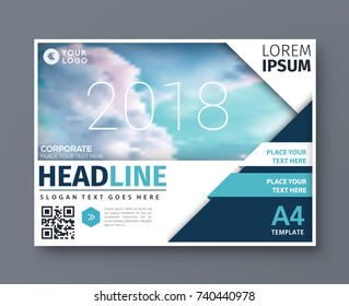 Modern poster magazine layout template, Horizontal annual report for presentation, business brochure vector design.