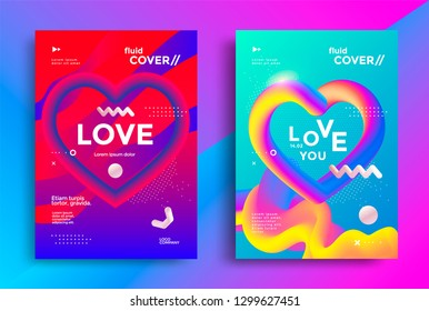 Modern poster templates set design with Creative 3d heart and graphic elements. Vector gradient trendy illustration for flyers, covers. Love day background