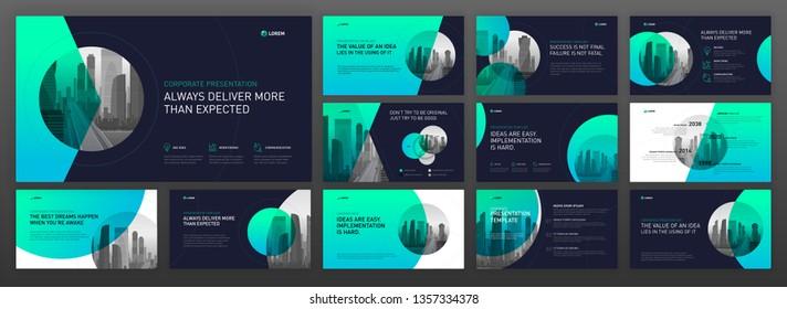 Modern powerpoint design templates set. Use as keynote presentation template, horizontal brochure design, website slider, landing page, annual report, company profile.