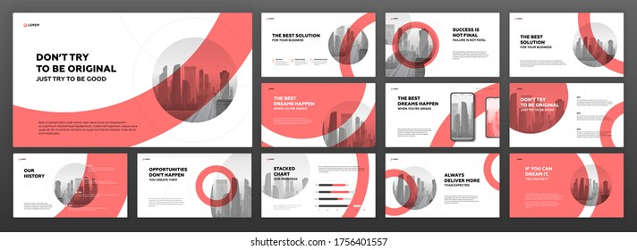 Modern powerpoint presentation templates set. Use for modern keynote presentation background, brochure design, website slider, landing page, annual report, company profile.