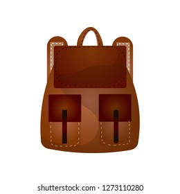 Modern practical backpack with extra pockets roomy shape for a fashionable teenager.