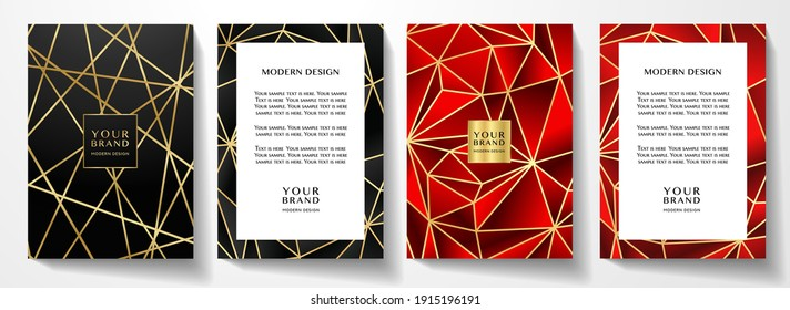 Modern premium red and black cover design set. Luxury polygon line pattern (triangle texture) background useful for menu cover, business poster, luxury brochure template