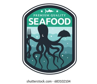 Modern Premium Seafood Restaurant Logo Badge Illustration