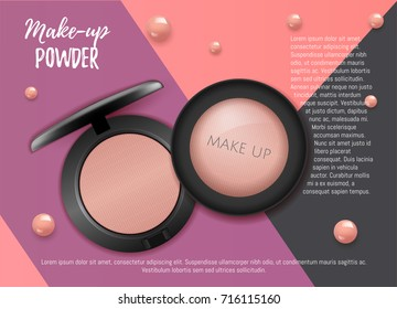 Modern  Premium VIP cosmetic ads, pink 3D cheek blush or make up promotion powder ads, cosmetics package background. Make-up powder for sale. Elegant face powder compact illustration vector design