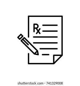 Modern prescription line icon. Premium pictogram isolated on a white background. Vector illustration. Stroke high quality symbol. Prescription icon in modern line style.