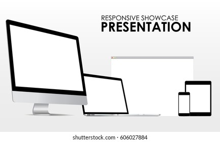 Modern presentation showcase to display your responsive app or web projects using modern devices: computer, iMac laptop Macbook Pro, smartphone iPhone, tablet iPad, browser window. Vector illustration