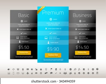 Modern pricing list with one preferred option with yellow corner ribbon. Blue and black color combination. Set of icons included.