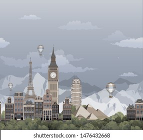 modern print with city landscape and famous world buildings. big ben, dutch houses, pisa tower and eiffel tower with mountains. pattern for kids