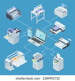 Modern printing house equipment. Printer plotter, offset cutting machines isometric vector concept