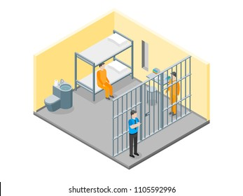 Modern Prison Interior with Furniture and People Isometric View Crime and Punishment Concept. Vector illustration of Scene with Convict