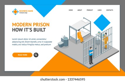 Modern Prison Interior with Furniture and People Landing Web Page Template Isometric View Crime and Punishment Concept. Vector illustration of Scene with Convict