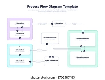Modern Process Flow Diagram layout template. Flat design, easy to use for your website or presentation.