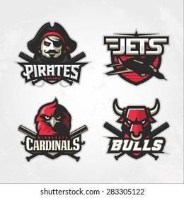 Modern professional baseball logo set for sport team