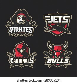 Modern professional baseball logo set for sport team