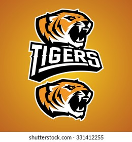 Modern professional baseball logo for sports team. Illustration of a tiger on orange background.