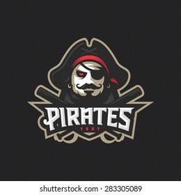 Modern professional baseball pirates logo for sport team