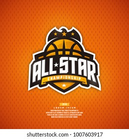 Modern professional basketball logo design. All star championship sign.