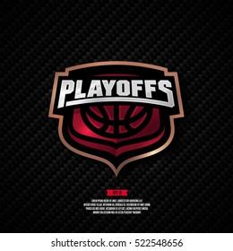 Modern professional basketball playoffs logo design.