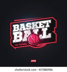 Modern professional basketball template logo design with ball