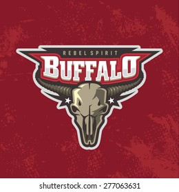 Modern professional buffalo skull logo for biker club or sport team