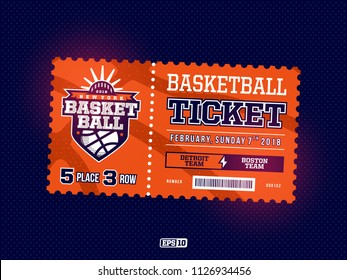 Modern professional design of basketball tickets in orange theme.