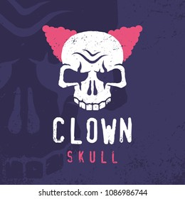 Modern professional emblem clown skull in purple and pink theme