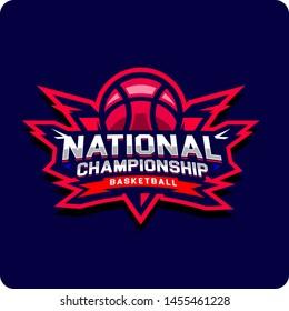Modern professional emblem National Championship Basketball Sports, Typography