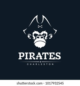 Modern professional emblem pirates monkey for american football team