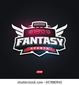 Modern professional fantasy sports template logo design
