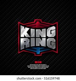Modern professional fighting logo design. King ring boxing sign.