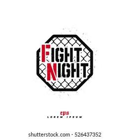 Modern professional fighting logo design. Fight night sign.