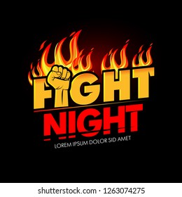Modern professional fighting poster template logo design with fist and fire. Isolated vector illustrations.