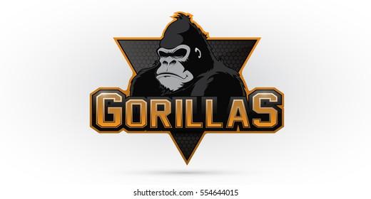 Modern professional gorilla logo for a sport team. Vector logo on a white background.