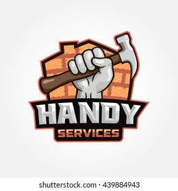 Modern professional handy services logo with hand holding hammer