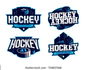 Modern professional hockey logo set for sport team.