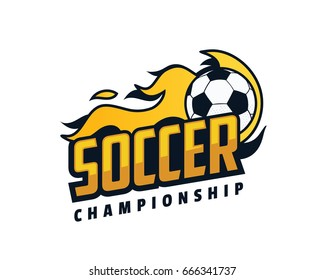 Modern Professional Isolated Sports Badge Logo - Flaming Soccer Championship